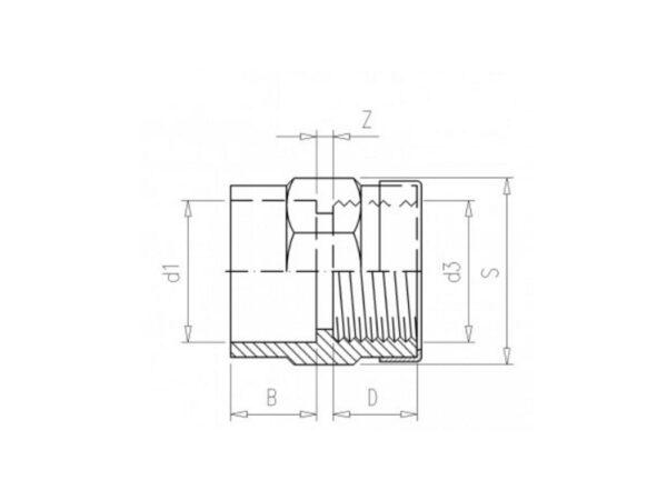 "Adaptor socket Ø110 x 4"" female 10bar pvc - 030003100"